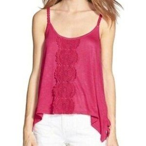 Love on a Hanger Cami Pink Sharkbite Tank Top S
